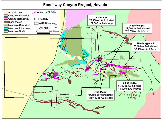 Location by zone of the Fondaway Canyon resources